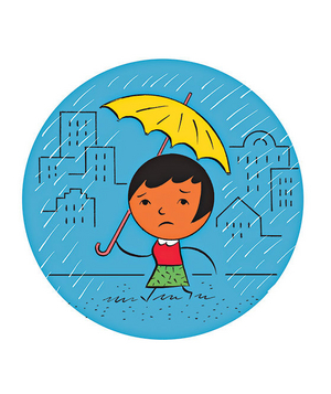 Illustration of a woman walking in the rain