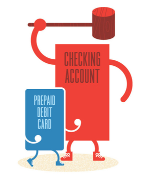 Illustration of a checking account and debit card fighting