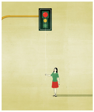 Illustration of a woman holding a red balloon in front of a traffic light