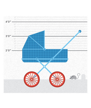 Illustration of a stroller in front of a height chart