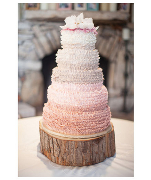 Ruffled pink wedding cake