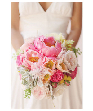 Bright pink and yellow bridal bouquet