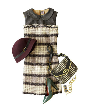 Tweed dress and accessories