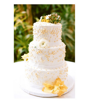 White and yellow wedding cake, topped with succulents