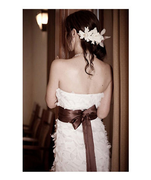 Bride wearing a brown satin sash
