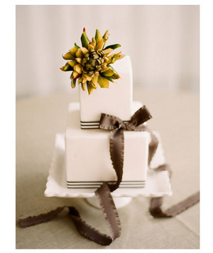 Wedding cake decorated with a brown ribbon