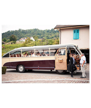 Wedding party in a vintage bus