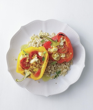 Tomato-and-Feta Stuffed Peppers Over Barley