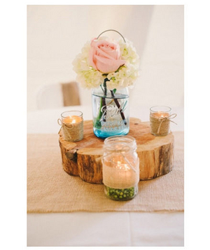 Burlap and ball jar centerpieces