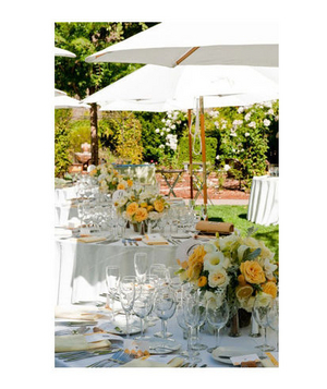 Yellow and white rose centerpieces