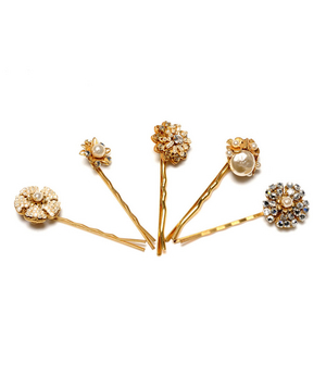 Miriam Haskell Crystal and Pearl Hair Pin