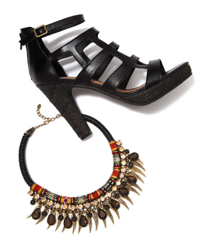 Faux-leather sandal and metal fabric necklace