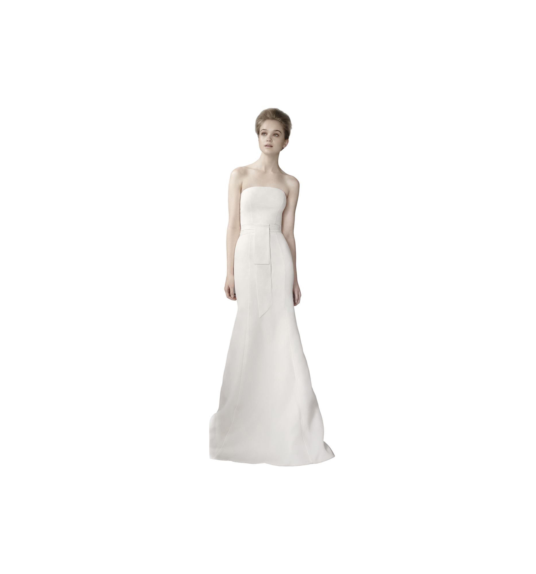 Vera Wang Twill Gazar Mermaid Gown With Grosgrain Sash
