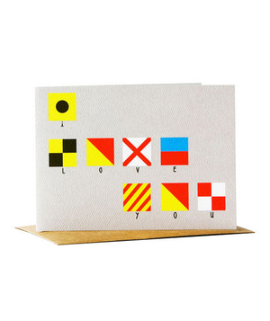 Yellow Owl Workshop Nautical Flag Card- Love