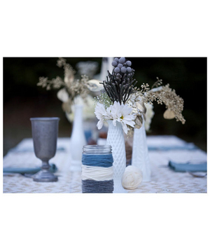 Blue themed reception table