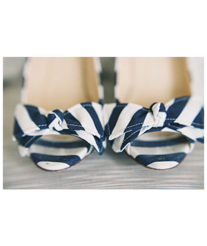 Navy and ivory striped heels