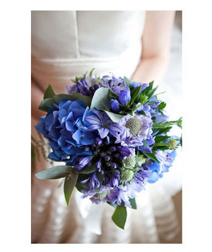 Bride holding blue bouquet
