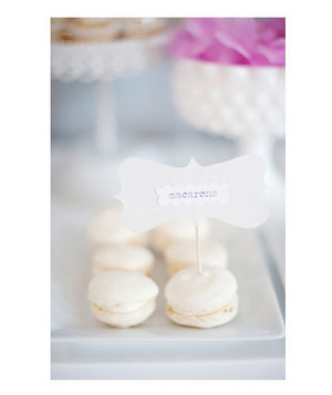 White macarons at a wedding reception