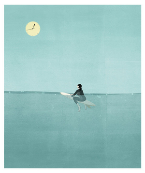Illustration of surfer watching sun shaped like a clock
