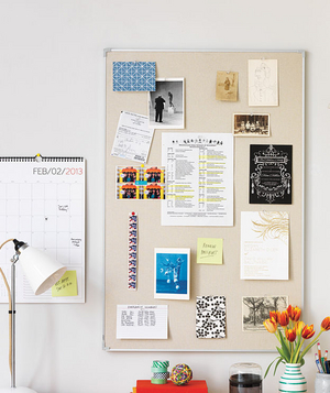 Linen covered bulletin board