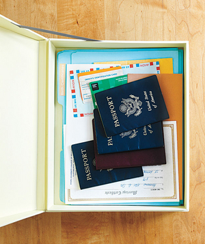 A passport and important documents box