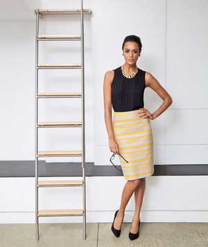 Model wearing yellow striped hemp skirt
