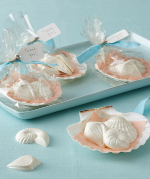 Fun ideas for beach theme bridal shower real simple beach themed bridal shower chocolate seashell favors junglespirit Image collections