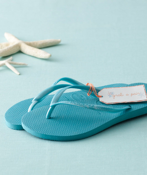 Beach-themed bridal shower flip-flops