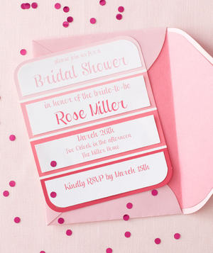 Pink-themed bridal shower invitation