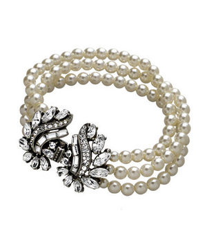 Ben-Amun Crystal Angel Wings Pearl Bracelet