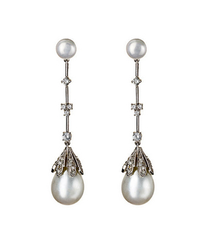 Genevive By Czc White Teardrop Pearl And Cz Drop Earrings