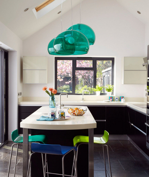 Turquoise, blue, and green accented kitchen