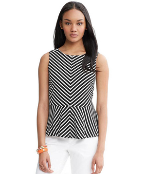 Banana Republic Chevron Stripe Ponte Peplum Top