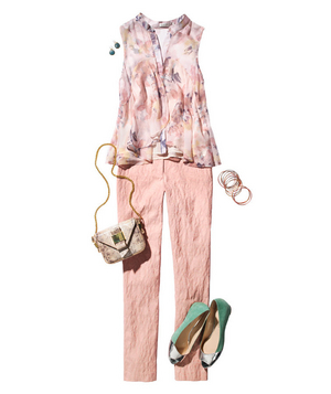 Floral print chiffon top and brocade pants