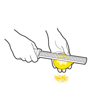 Illustration of grating a lemon