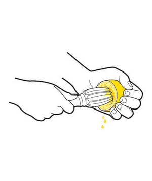 Illustration of juicing a lemon
