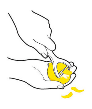 Illustration of peeling a lemon