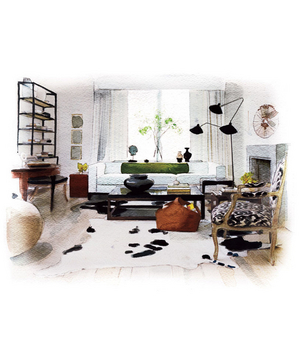 Illustration of modern black and white living room