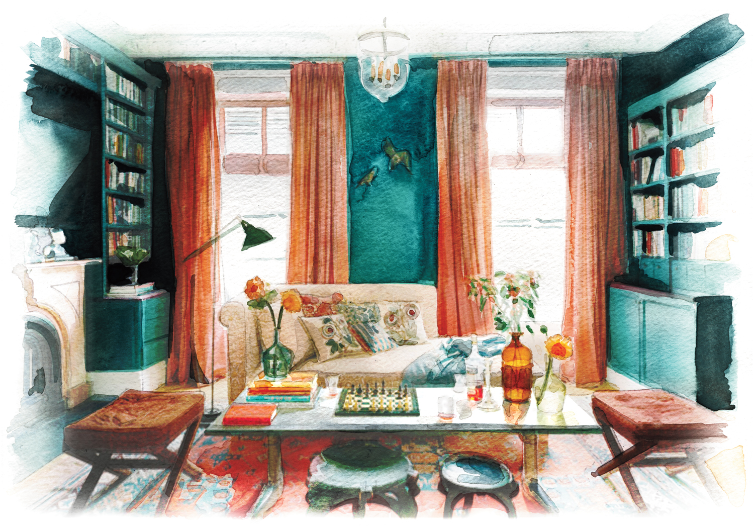 Illustration of a green and orange living room