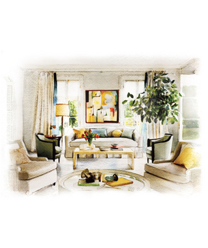 Illustration of a neutral living room