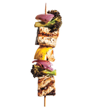 Marinated Tofu and Broccoli Kebabs