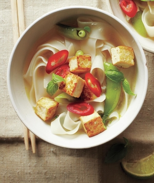 Thai Tofu Noodle Soup With Snap Peas