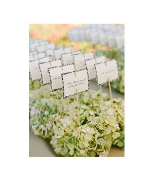 Hydrangea petal nests as escort cards