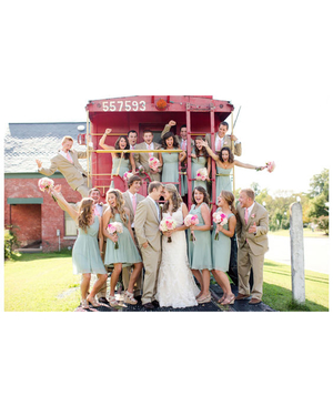 Bride and groom with entire wedding party