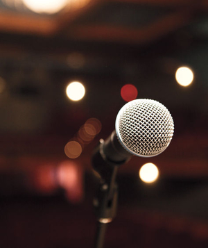 Microphone in a dark theater