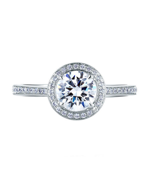 A.Jaffe Romantic Pave Set Halo Engagement Ring