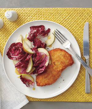 Crispy Chicken Cutlet With Radicchio and Pear Salad