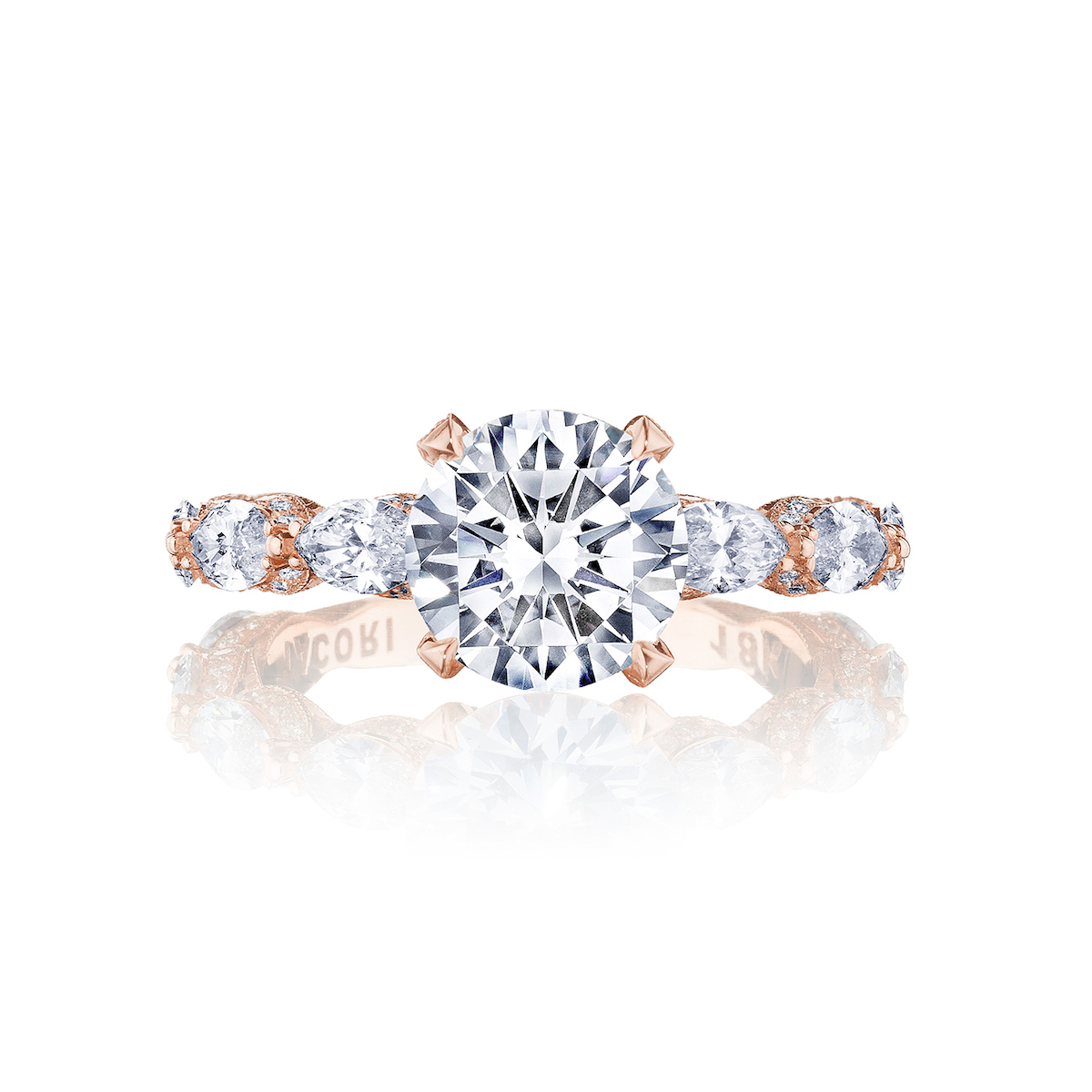 tacori royalt diamond rose gold engagement ring