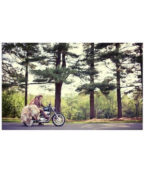 Newlyweds on a motorcycle