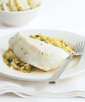 Poached Cod With Cabbage and Peas